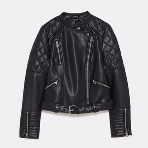 Quilted Moto Biker  Black Vegan Leather Jacket